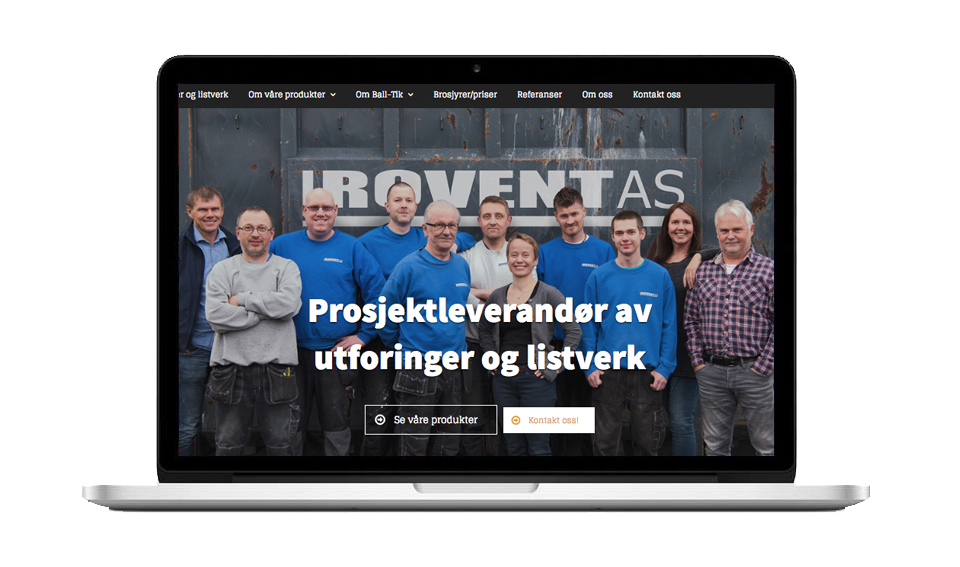 Forside på hjemmesiden til Rovent